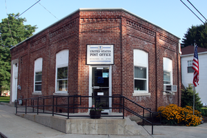 Romney, Indiana - Post office at the corner of Main and High streets.