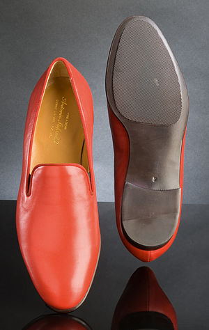 Papal shoes - A set of red loafers, manufactured by papal shoemaker Adriano Stefanelli, Novara, worn by Pope Benedict XV. The Philippi Collection.