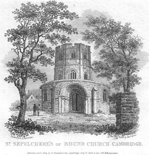 Holy Sepulchre, Cambridge - Holy Sepulchre in 1809 showing the Gothic bell-storey