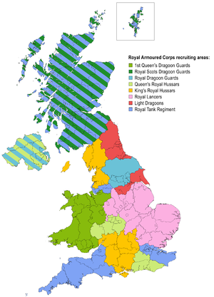 Royal Armoured Corps - Recruiting areas of the regular army regiments