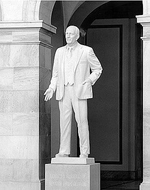 Richard Russell Jr. - A statue of Russell is placed in the rotunda of the Russell Senate Office Building.