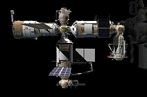 Orbital Piloted Assembly and Experiment Complex - Computer generated image of the ROS after Nauka docking.