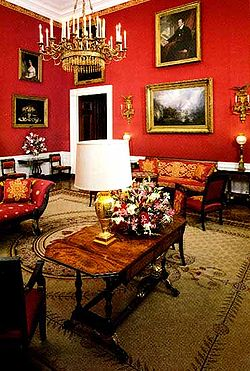 The White House Red Room Before Refurbishment During Administration Of Bill Clinton
