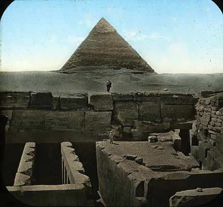 One face of the Pyramid of Khafre in Giza, showing a nearby archaeological site S10.08 Gizeh, image 9936.jpg