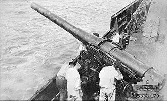 15 cm SK L/40 naval gun - A 15 cm SK L/40 gun aboard the German auxiliary cruiser SMS ''Wolf'' circa. 1916–18