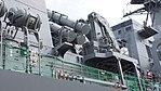 SSM-1B missile canister(right) & Deck crane on JS Fuyuzuki(DD-118) right rear low-angle view at JMSDF Maizuru Naval Base July 29, 2017.jpg