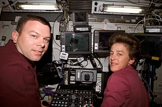Wendy B. Lawrence - With James Kelly in Destiny during STS-114. (Aug 2005)