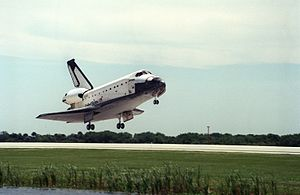 STS-83 - Columbia returns to the Kennedy Space Center following a fuel cell problem which caused its mission to be aborted after four days