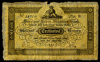 Sveriges Riksbank - A mid-19th century banknote for 32 Skillingar Banco (1843)