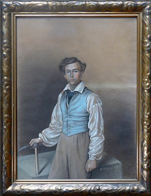 Alexander Saeltzer - Alexander Saeltzer, about 18-year-old, as carpenter-journeyman. Pastel 1832, painted by Heinrich Müller, Eisenach, Germany