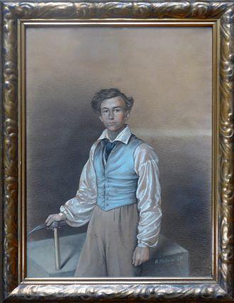 Alexander Saeltzer - Alexander Saeltzer, about 18-year-old, as carpenter-journeyman. Pastel 1832, painted by Heinrich Müller, Eisenach, Germany
