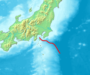 Sagami Trough - Red line is the Sagami Trough
