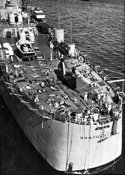 File:Sailors relaxing on fantail of USS Northampton (CLC-1) in 1957.jpg