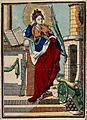 Saint Barbara. Coloured wood engraving. Wellcome V0031654.jpg
