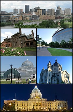 En el sentido de las agujas del reloj desde la parte superior: el centro de Saint Paul visto desde Harriet Island, el Xcel Energy Center, la Catedral de Saint Paul, el Capitolio del Estado de Minnesota, el Conservatorio Marjorie McNeely y la histórica Casa James J. Hill