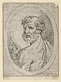 Saint Peter seen from behind, turning to face outwards and holding a key, in an oval frame, from Christ, the Virgin, and Thirteen Apostles MET DP837887.jpg