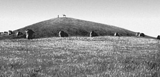 Kurgan stelae - Scythian 5th to 4th century BC. Salbyk kurgan surrounded by balbals with kurgan obelisk on the top. Photographed before excavation, early 20th-century, Minusinsk territory, Siberia