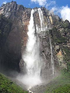 Place where water flows over a vertical drop in the course of a river