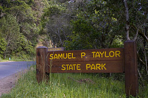 Samuel P. Taylor State Park - Park sign from the western entrance along Sir Francis Drake Boulevard