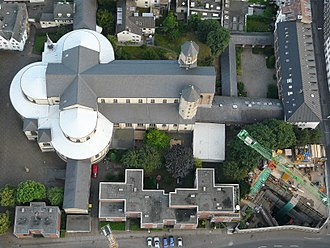 Tetraconch - Aerial view of the triconch Sankt Maria im Kapitol, Cologne