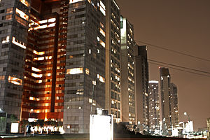 Santa Fe, Mexico City - Apartment buildings at night