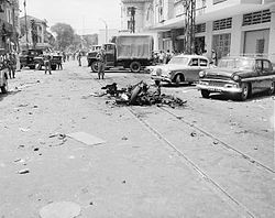 Scene of Viet Cong terrorist bombing in Saigon, Republic of Vietnam., 1965