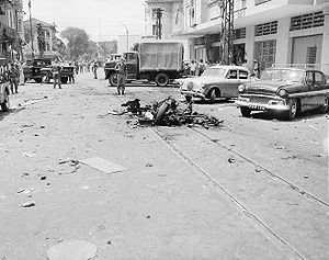 Car bomb - Vietcong car bombing aftermath scene in Saigon, 1965.