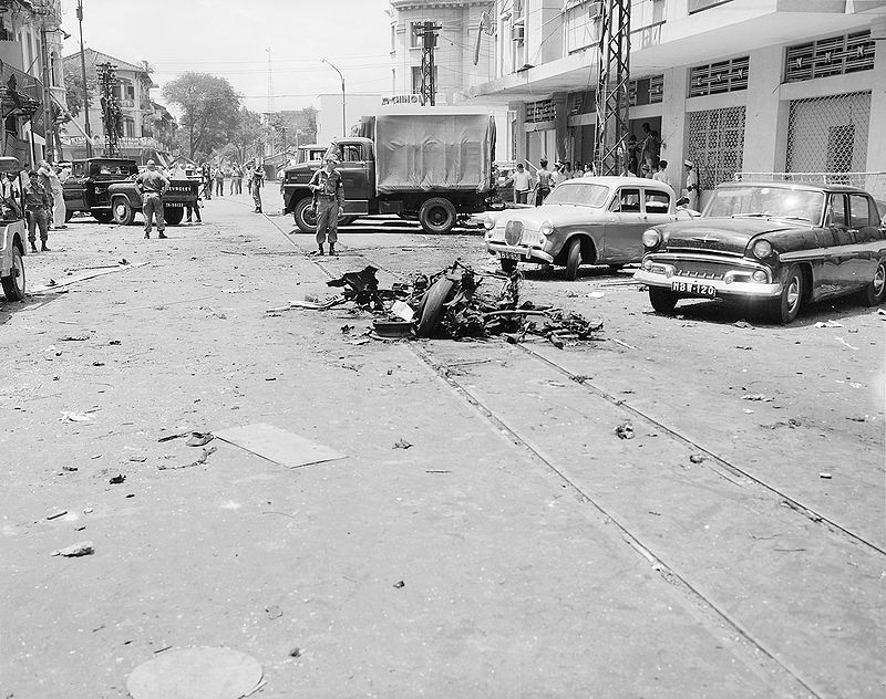 Scene of Viet Cong terrorist bombing in Saigon, Republic of Vietnam., 1965.jpg