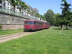 Uerdingen railbus - A VT 98 on the harbour railway in Frankfurt