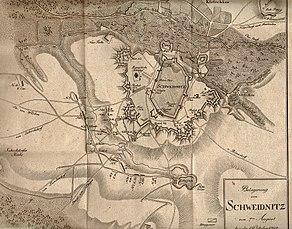 Karte: Belagerungen von Schweidnitz im Jahr 1762 (Quelle: Wikimedia)
