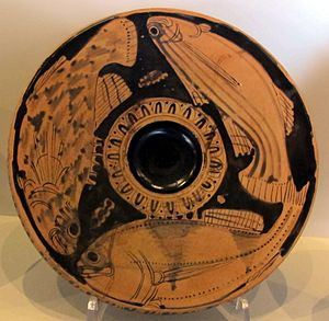 Fish plate - By the Scorpion Fish Painter, 380-75 BC
