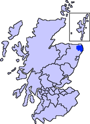 Buchan - Map of Scotland showing the present-day committee area of Buchan