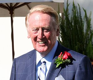 Spectrum SportsNet LA - Long-time sportscaster Vin Scully continued his tenure as voice of the Dodgers on SportsNet LA until his 2016 retirement.