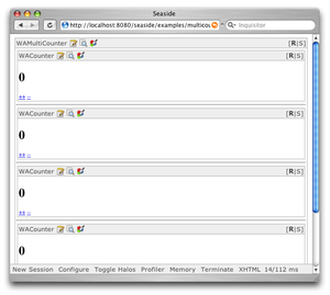 Screenshot of a web application in development mode