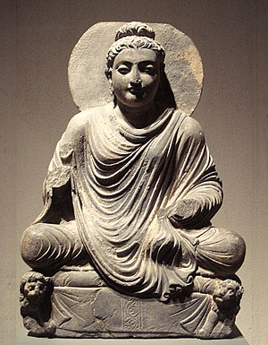 Conscience - Seated Buddha, Gandhara, 2nd century CE. The Buddha linked conscience with compassion for those who must endure cravings and suffering in the world until right conduct culminates in right mindfulness and right contemplation.