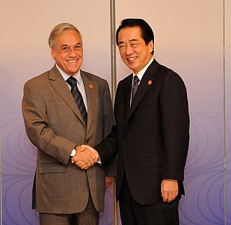 Chile–Japan relations - Chilean President Sebastián Piñera meeting with Japanese Prime Minister Naoto Kan in Tokyo, 2010.