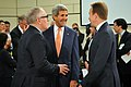 Secretary Kerry Chats With Dutch Foreign Minister Timmermans and Norwegian Foreign Minister Brende Before NATO Meeting in Brussels (14525322603).jpg