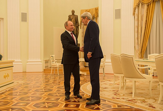 Secretary Kerry Shakes Hands With Russian President Putin Before Their Bilateral Meeting Focused on Syria and Ukraine in Moscow (25404689574).jpg