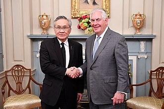 Don Pramudwinai - Secretary Tillerson Poses for a Photo With Thai Foreign Minister Pramudwinai Before Their Meeting in Washington