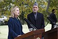 Secretary of State Hillary Rodham Clinton and Afghan President Hamid Karzai hold a news conference at the presidential palace in Kabul, Afghanistan 111020-S-PA947-769.jpg