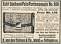 Seehund-Pelz-Portemonnaie, E. von den Steinen & Cie., Wald bei Solingen, Anzeige 1908.JPG
