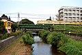Seibu 9000 als een sneltrein naar het westen rijdt over de brug over de Kurome, -26 augustus 2009.jpg