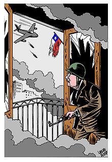 Political cartoon showing an old man in a suit, plus helmet and rifle, looking out of a window to see a jet dropping bombs and a ragged Chilean flag.