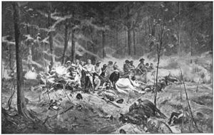 Late Victorian-era battle scene with a row of colonial-looking figures facing the viewer, surrounded by fallen horses in the middle of a thick wood. Many of the men wear slouch hats; all brandish bolt-action rifles, standing in a row as if awaiting an unseen enemy.