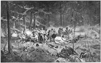 Shangani Patrol - There Were No Survivors, an 1896 depiction of the patrol's last stand, by Allan Stewart (1865–1951)