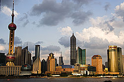 Pudong side of Shanghai with skyscrapers