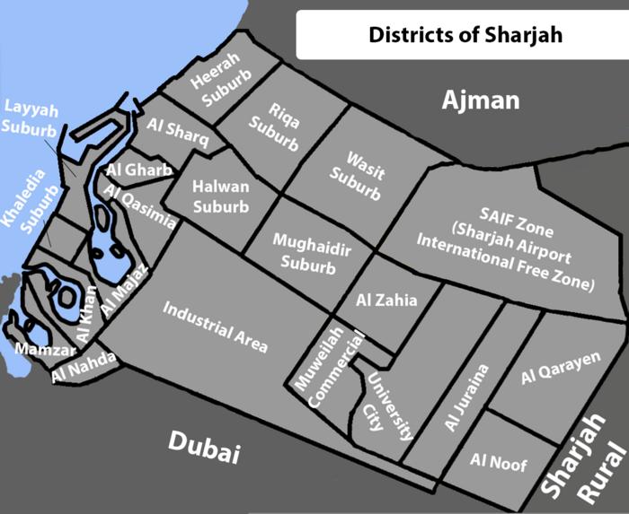 Mapa dzielnic Sharjah