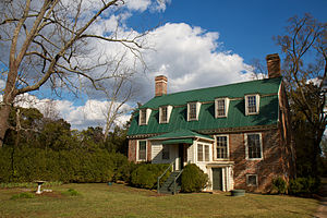 Battle of Totopotomoy Creek - Rural Plains, also known as Shelton House, near Totopotomoy Creek in Virginia. Patrick Henry reportedly married Sarah Shelton in the parlor.  The house was near the later unsuccessful advance of Maj. Gen. Winfield S. Hancock's II Corps during the Battle of Totopotomoy Creek in the Civil War.