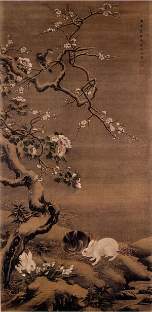 Shen Quan - Pair of Hares and Plum Blossom in the Snow, 1716