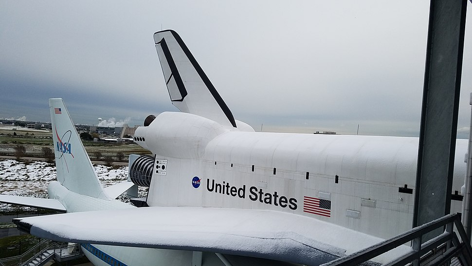Shuttle Replica Independence covered in snow